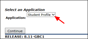 Title: Select an Application Page - Description: A screenshot of the 'Select an Application' page with an arrow pointing to the 'Application' dropdown menu with 'Student Profile selected.