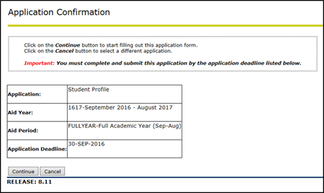Title: Application Confirmation page - Description: Screenshot of the Application Confirmation page, showing the application name, aid year, aid period, and the application deadline.