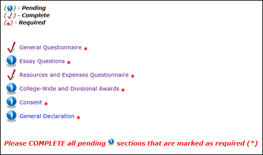 Title: Main Menu of the Student Profile - Description: A screenshot of the Student Profile main menu, showing all required sections. Two sections are marked as complete by a red checkmark and four sections are marked as pending by a blue icon.