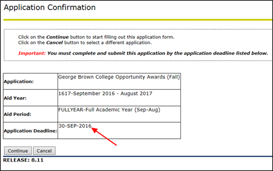 Title: Application Confirmation page - Description: A screenshot of the 'Application Confirmation' page showing the application details for the 'George Brown College Opportunity Awards (Fall)' application, with an arrow pointing to the Application Deadline.
