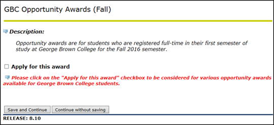 Title: Awards Application page - Description: A screenshot of the Awards Application page for the 'GBC Opportunity Awards (Fall)' awards group, with a checkbox marked 'Apply for this Award'.